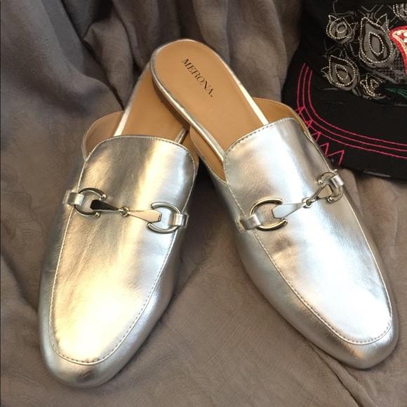 7916dca3f55 Merona Shoes - Merona silver backless mule loafers- 11